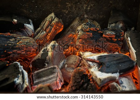 Photo of Hot Red, Orange and Black Burning Wood Charcoal Coal for BBQ Party, Grill Meat - stock photo