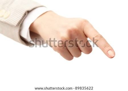 Photo of human hand with forefinger pointing down