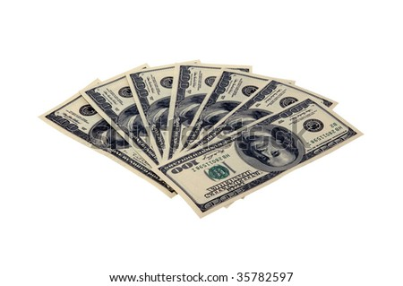 Photo of hundred dollars bills isolated over white background - stock photo