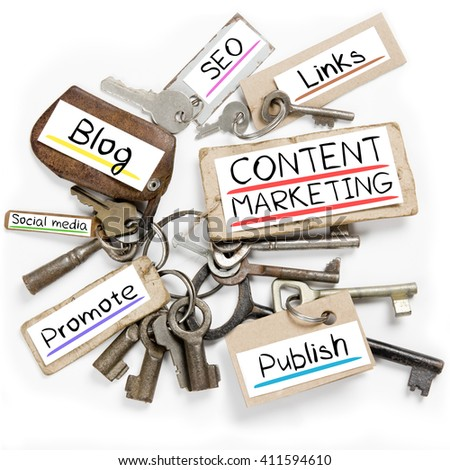 Photo of key bunch and paper tags with CONTENT MARKETING conceptual words - stock photo