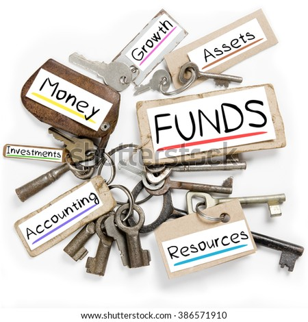 Photo of key bunch and paper tags with FUNDS conceptual words - stock photo