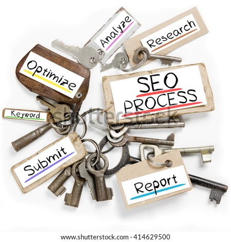 Photo of key bunch and paper tags with SEO PROCESS conceptual words - stock photo