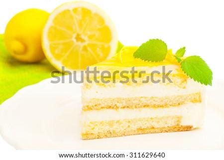 Photo of lemon cream cake - stock photo