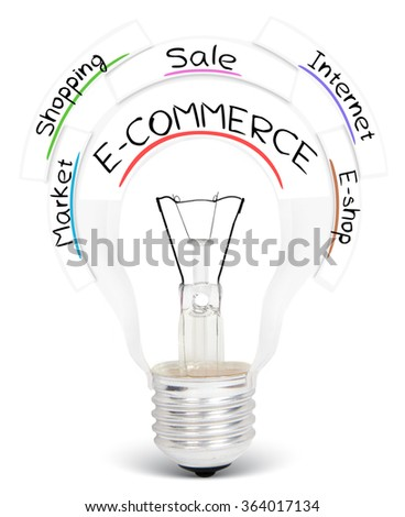 Photo of light bulb with conceptual words isolated on white - stock photo