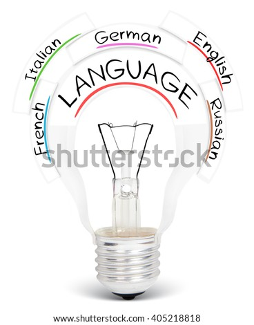 Photo of light bulb with LANGUAGE conceptual words isolated on white - stock photo