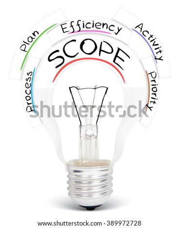 Photo of light bulb with SCOPE conceptual words isolated on white - stock photo