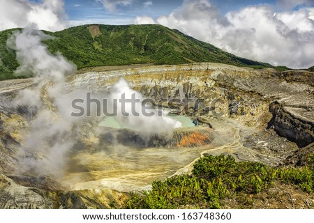 Photo of main crater of Poas Volcano in Costa Rica. - stock photo