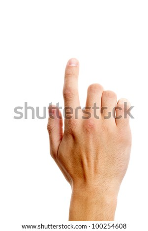 Photo of male hand with forefinger pressing imaginable button - stock photo
