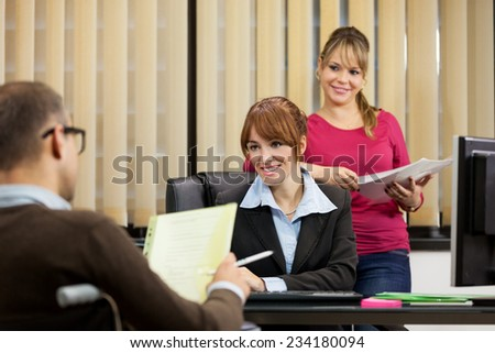 photo of male manager doing job interview in his office - stock photo