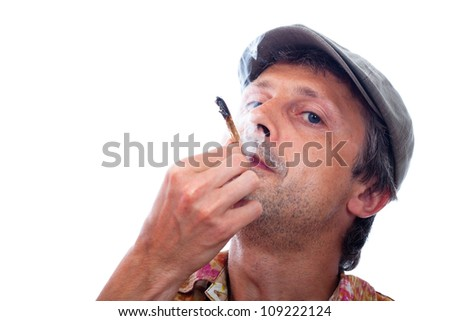 Photo of man smoking hashish joint, isolated on white background.