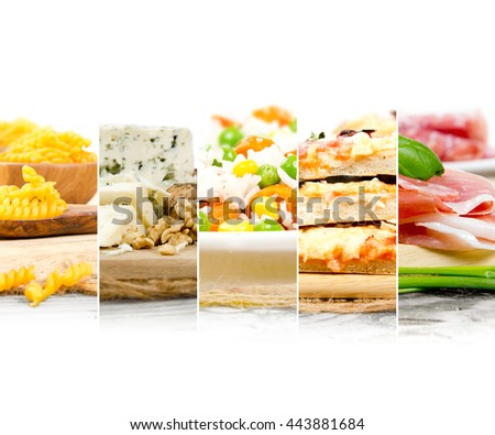 Photo of mix stripes with Italian Food and ingredients; healthy eating concept; white space for text - stock photo