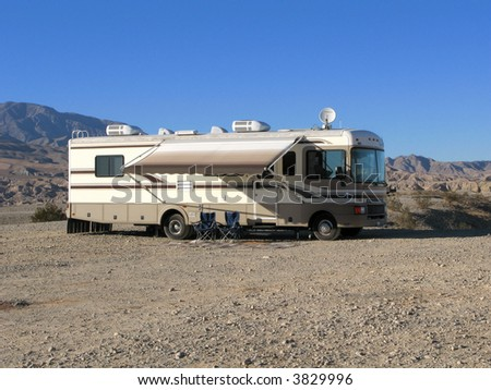 Photo of mobile home in the Californian desert - stock photo