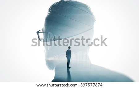 Photo of modern bearded banker wearing glass isolated white. Double exposure stylish adult businessman trendy suit and looking diagram background. Horizontal - stock photo