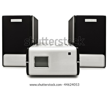 Photo of modern digital cd player against the white background - stock photo