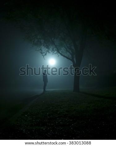 Photo of myself standing under a streetlight on a foggy night - stock photo