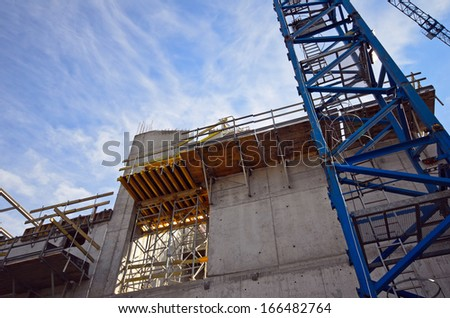 Photo of new building being constructed - stock photo