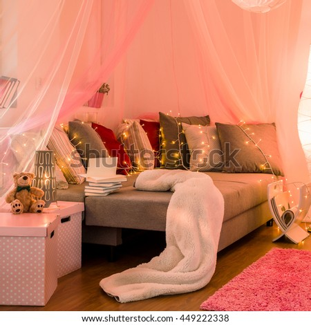 Photo of new style bedroom for girl - stock photo