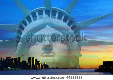 photo of new york city with statue of liberty