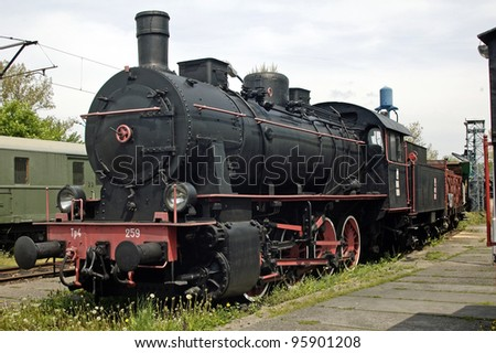 Photo of old locomotive in museum