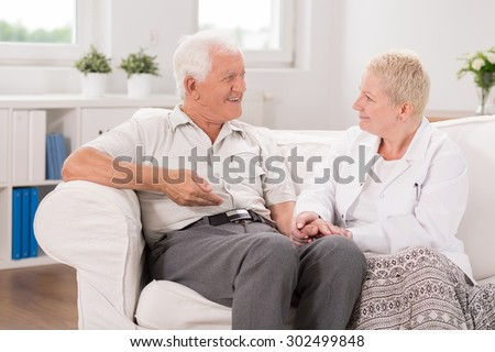 Photo of old male having professional medical care