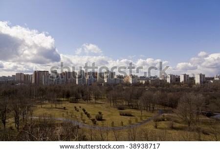 photo of one of the districts of Moscow in the early spring, made from a height of 9-storey building