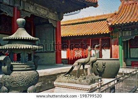 photo of ornamental courtyard in the forbidden city, Beijing, China, with crane and heron statues in foreground,  stylized and filtered to look like an oil painting