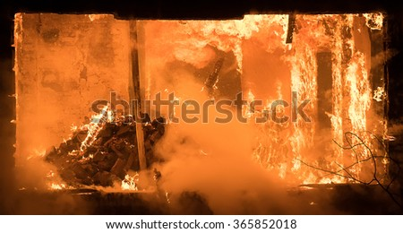 Photo of Part of a House on Fire. Window view to Fire Inside Wooden Old House