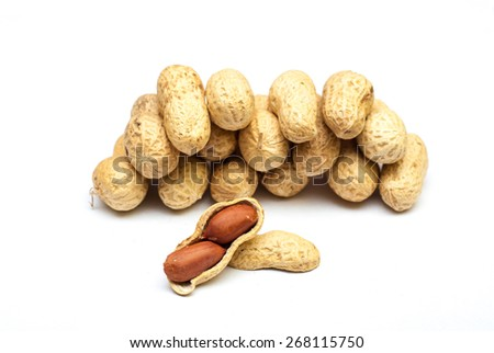 Photo of peanuts on white with soft shadow.
