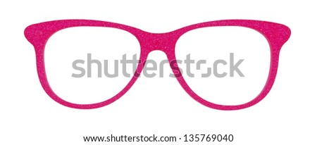 Photo of pink glasses isolated on white background with clipping parts - stock photo