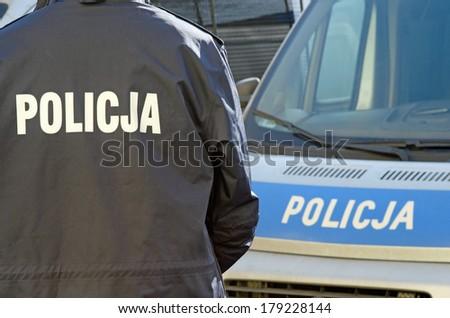 Photo of polish police sign - stock photo