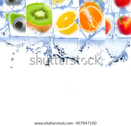 Photo of rainbow color fruit and ice cubes mix with white space for text - stock photo