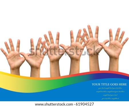 Photo of raised hands isolated on white background. - stock photo