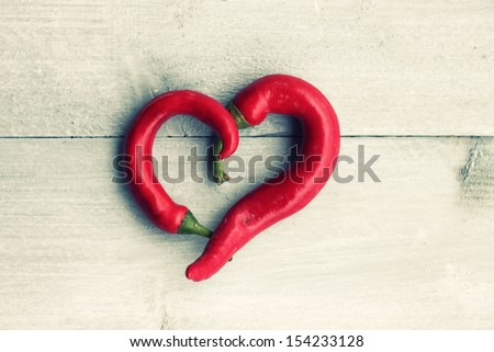 Photo of red heart shape chili pepper