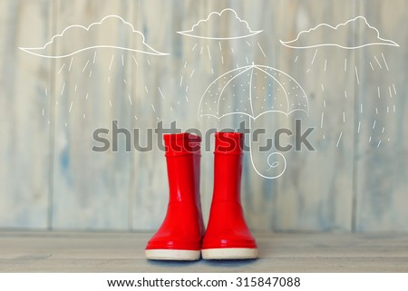 Photo of red rain boots - stock photo
