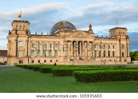 Photo of Reichstag at sunset. Berlin, Germany