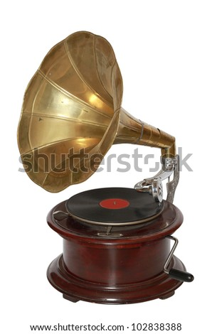 Photo of retro gramophone isolated over white background. With clipping path - stock photo