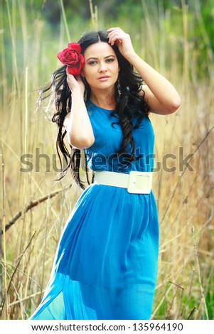 photo of romantic woman in fairy forest. Beauty spring time - stock photo