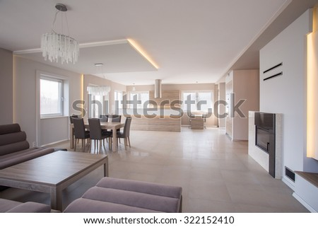Photo of roomy interior with elegant sofa set - stock photo
