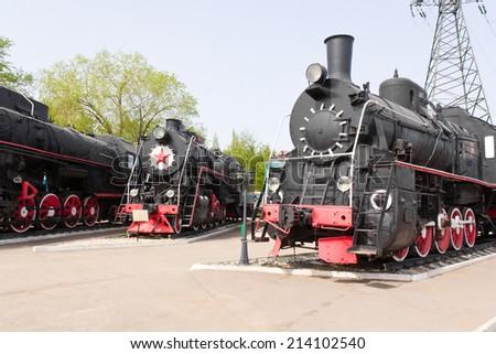 Photo of Russian rail road locomotive in Samara - stock photo
