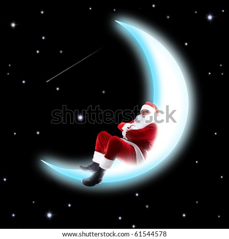 Photo of Santa Claus sleeping on shiny moon with night sky at background