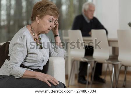 Photo of senior broken down marriage in dispute - stock photo