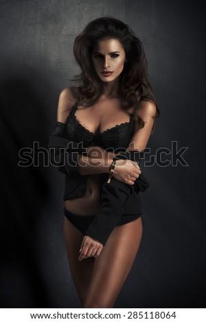 Photo of sensual beautiful woman looking at camera  - stock photo
