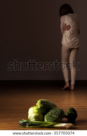 Photo of skinny and depressed anorexic girl starving  - stock photo