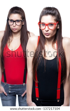 Photo Of Smart Twins On White Background.