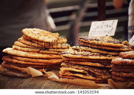 photo of some yummy pastry photographed in Camden Market, London, UK - stock photo