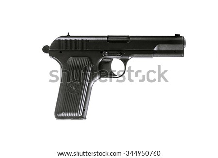 Photo of soviet gun isolated on white. TT pistol