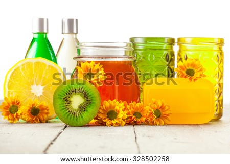 Photo of spa products over white isolated background - stock photo