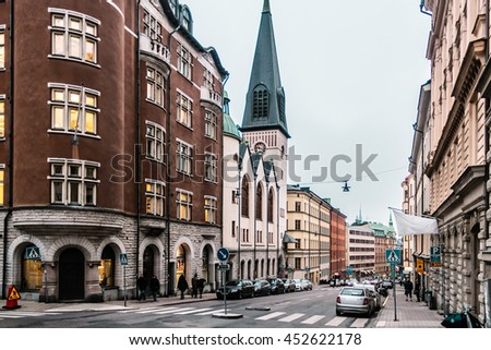 Photo of Streets and Buildings of Stockholm, Sweden - stock photo