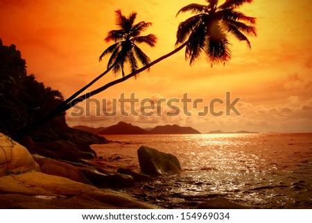 Photo of sunrise on sea - stock photo