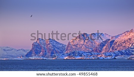 Photo of sunset North of the Polar Circle - stock photo
